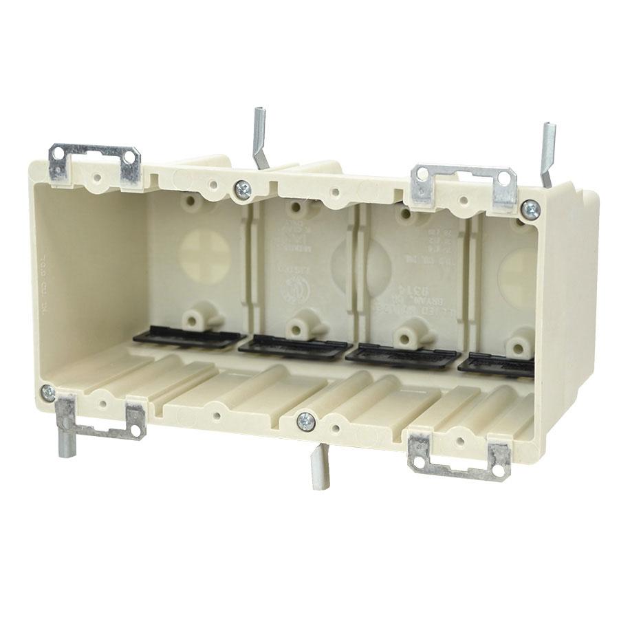 9314-EWK Four gang electrical box with metal ears wing brackets