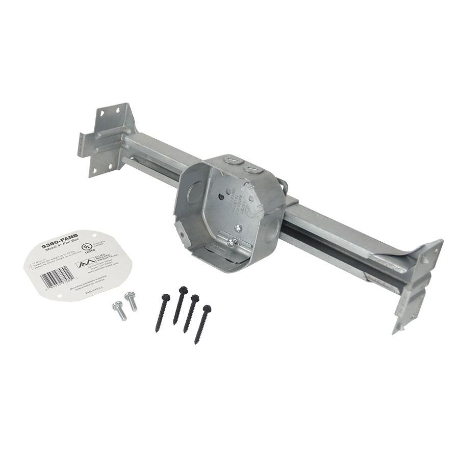 9380-FANB Octagonal steel fanfixture support box with adjustable bar hanger