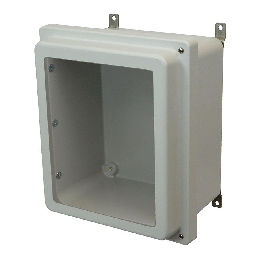 AM1648RHW Fiberglass enclosure with raised 2screw hinged window cover