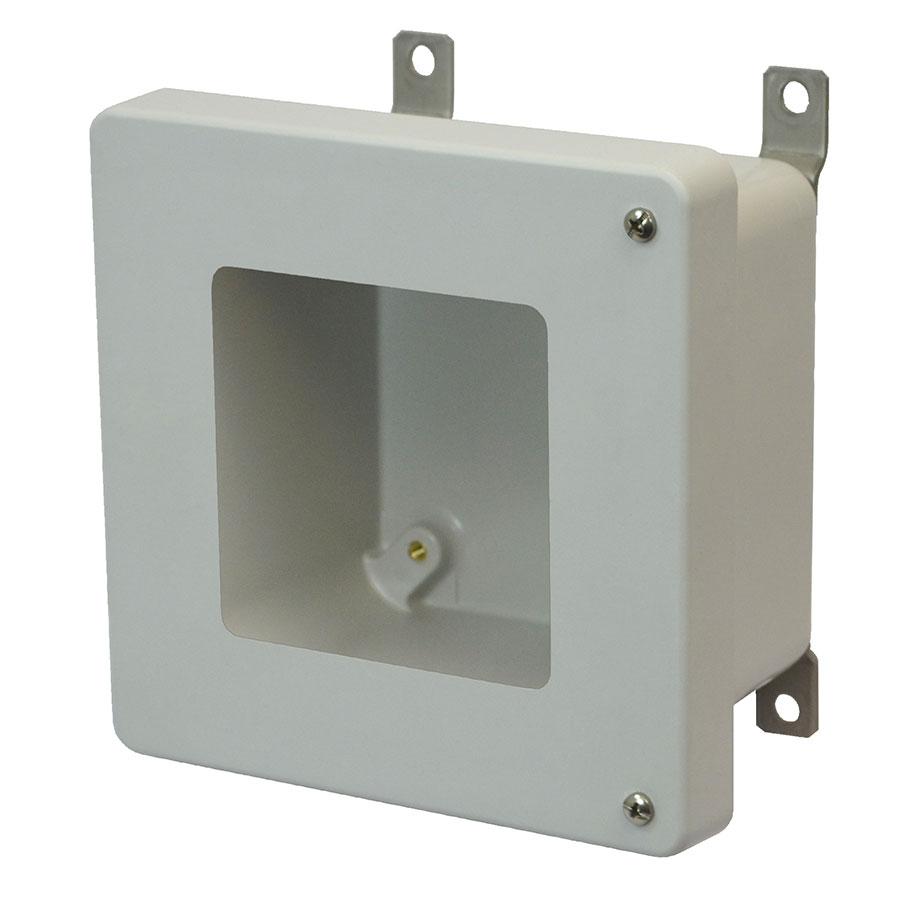 AM664HW Fiberglass enclosure with 2screw hinged window cover