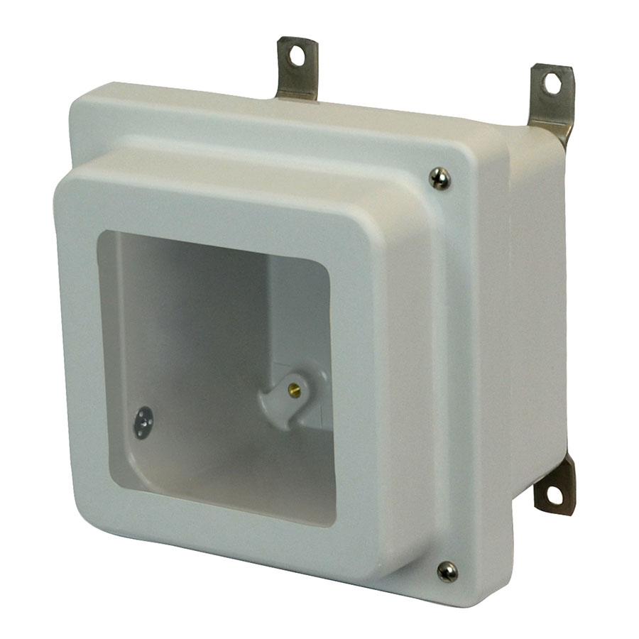 AM664RHW Fiberglass enclosure with raised 2screw hinged window cover