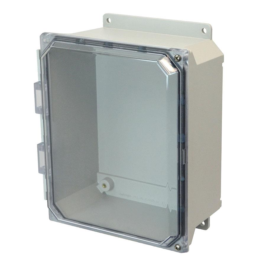 AMU1084CCHF Fiberglass enclosure with 2screw hinged clear cover