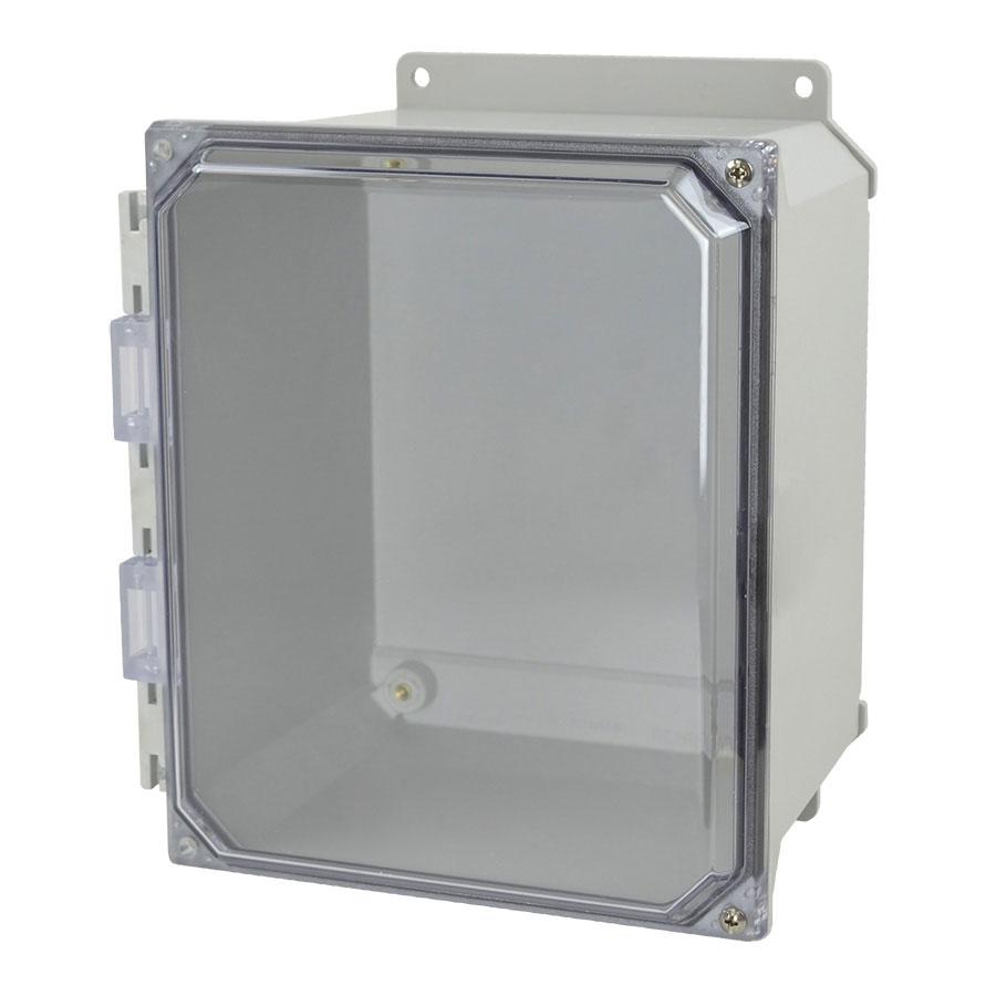 AMU1086CCHF Fiberglass enclosure with 2screw hinged clear cover