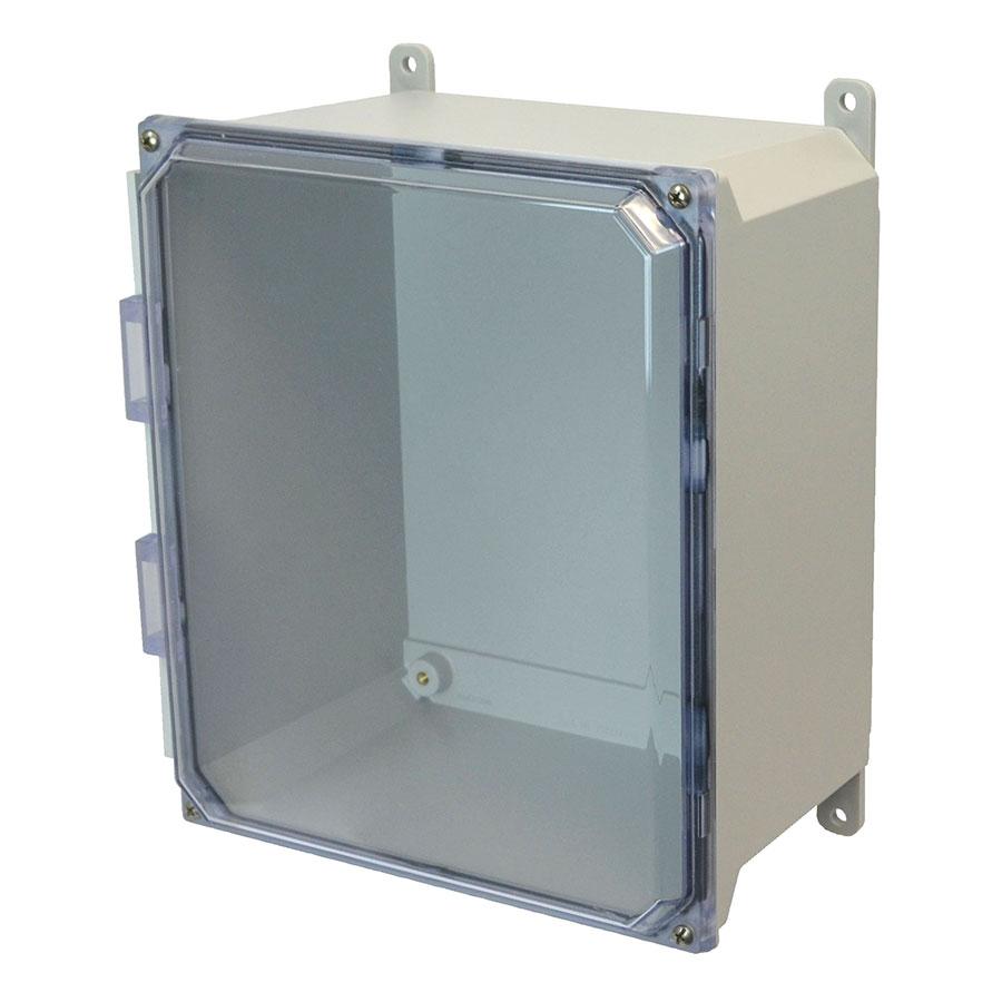 AMU1648CC Fiberglass enclosure with 4screw liftoff clear cover
