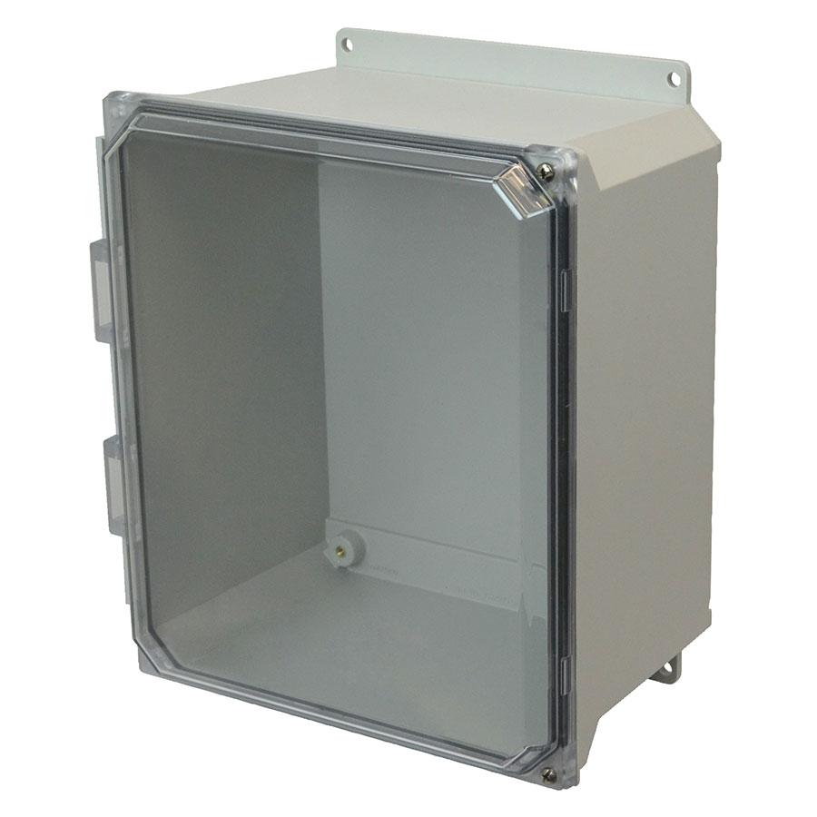 AMU1648CCHF Fiberglass enclosure with 2screw hinged clear cover