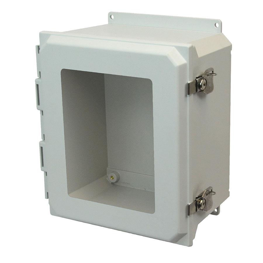 AMU1648TWF Fiberglass enclosure with hinged window cover and twist latch