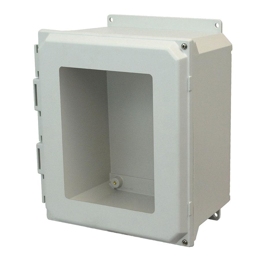AMU1860HWF Fiberglass enclosure with 2screw hinged window cover