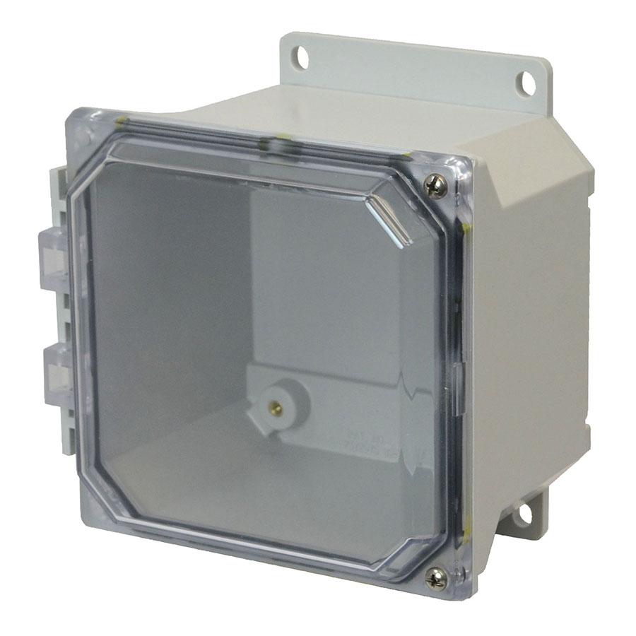 AMU664CCHF Fiberglass enclosure with 2screw hinged clear cover