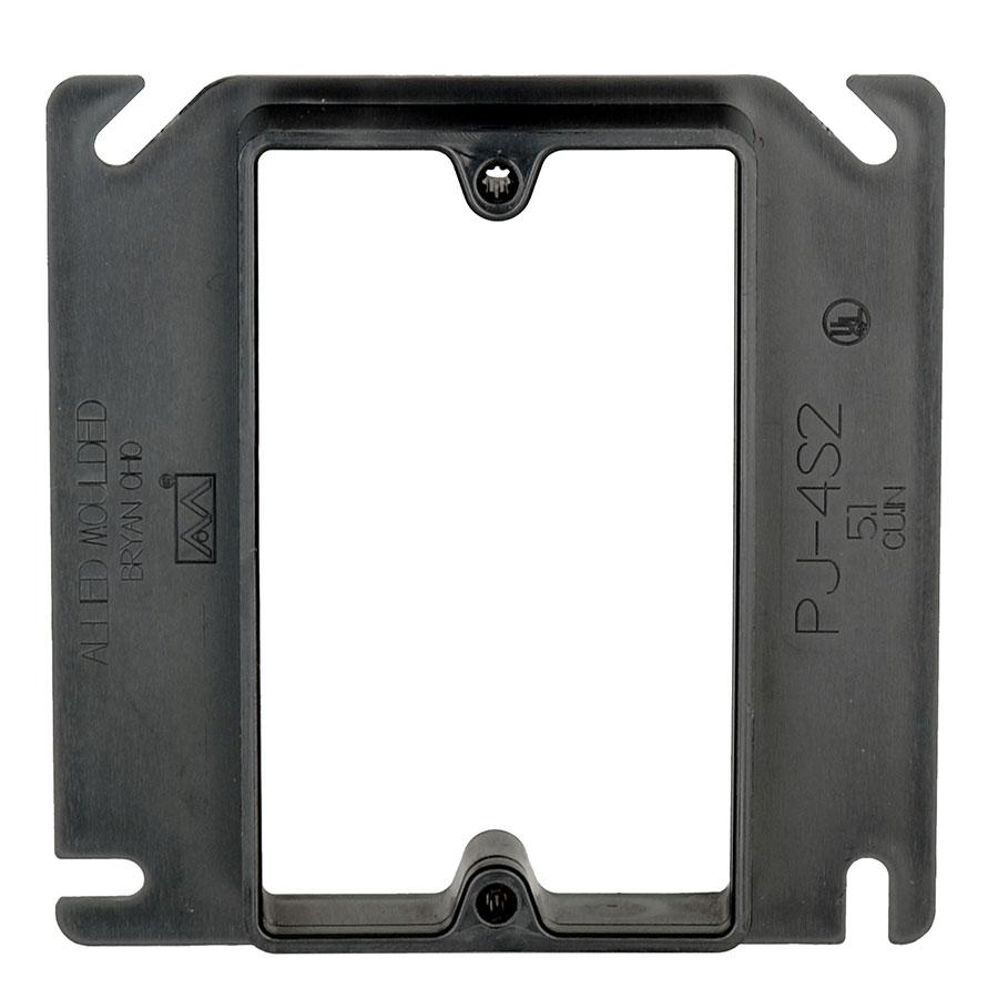 PJ-4S2 4 square single gang junction box plaster ring